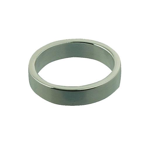 Silver 4mm plain flat Wedding Ring Size P