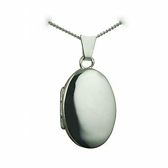 Silver 22x15mm plain oval Locket with a curb Chain 24 inches