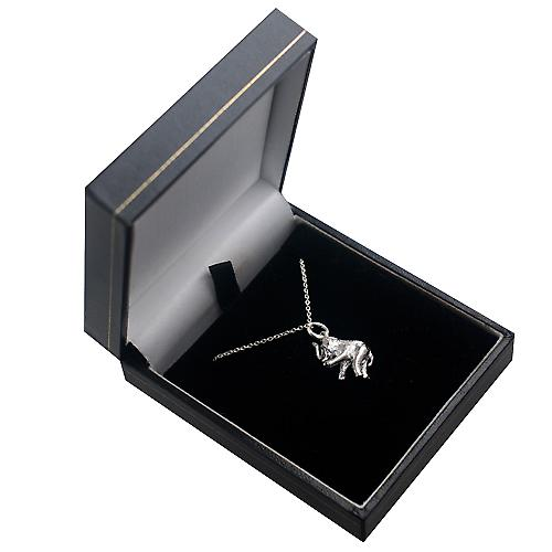 Silver 18x9mm solid Elephant Pendant with a rolo Chain 16 inches Only Suitable for Children