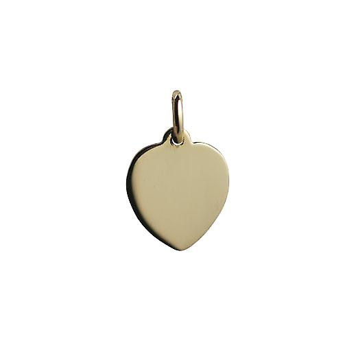 18ct Gold 16x14mm plain Heart Disc
