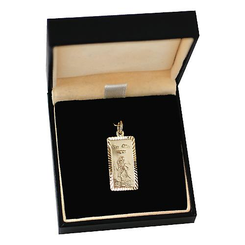 9ct Gold 26x13mm rectangular diamond cut edge St Christopher Pendant