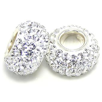 Sterling sølv Crystal Rhinestone Encrusted sjarm Bead - for 3mm armbånd