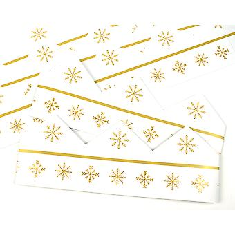 Gold Snowflake Adjustable Paper Hats for Crackers - 10 or 25 Pack