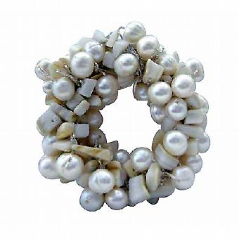 Håndlagde hvit ferskvann perler brude eller brudepike kjole brosje