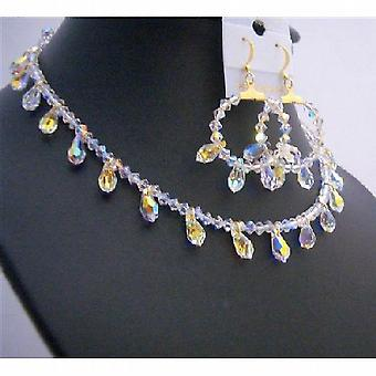 Bridal Gold AB Crystals Teardrop Jewelry Set Exclusive Bridal Jewelry