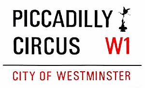 Piccadilly Circus large sized enamel sign    (gg)