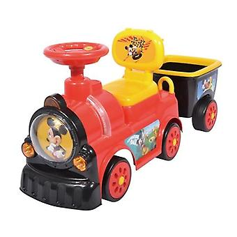 RideonToys4u Mickey Mouse Train With Trailer Push Along With Under Seat Storage
