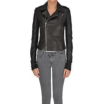 Rick Owens Black Leather Outerwear Jacket