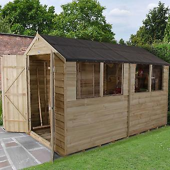 Forest Garden Overlap Pressure Treated Apex Wooden Shed Double door