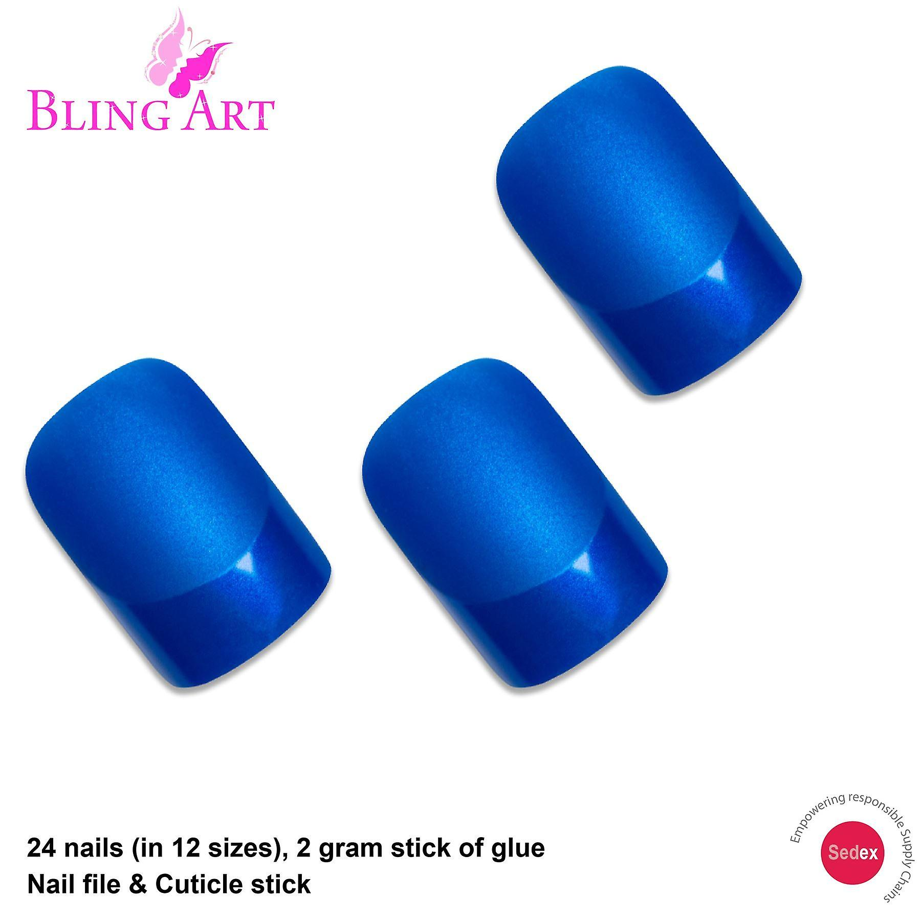 False nails by bling art blue matte french manicure fake medium tips with glue