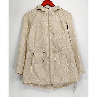 Susan Graver Water Resistant Packable Anorak Jacket Beige A287942