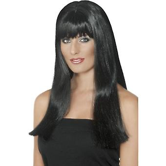 Smiffys Mystique Wig Black Long With Fringe And Skin Parting
