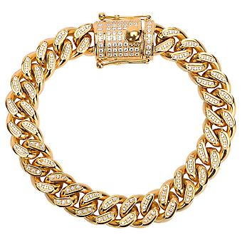 Iced Out stainless steel CZ tank chain bracelet - CUBAN 12mm gold