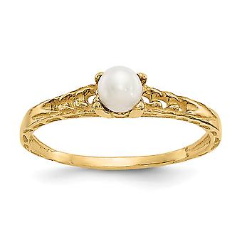 14k Yellow Gold Polished 3mm Freshwater Cultured Pearl for boys or girls Ring - Size 3