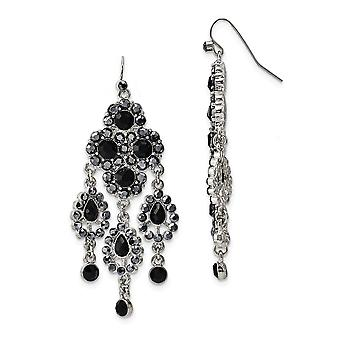 Silver-tone Shepherd hook Black Glass Stones Chandelier Earrings