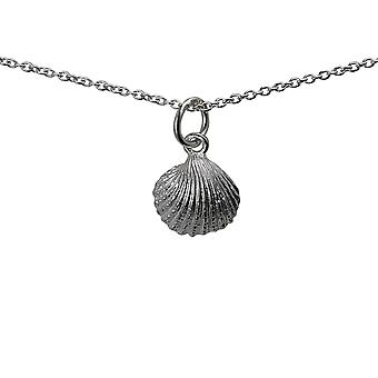 Silver 9x11mm Sea shell Pendant with a rolo Chain 24 inches