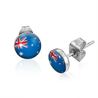 Urban Male Australian Flag Resin & Stainless Steel 7mm Stud Earrings