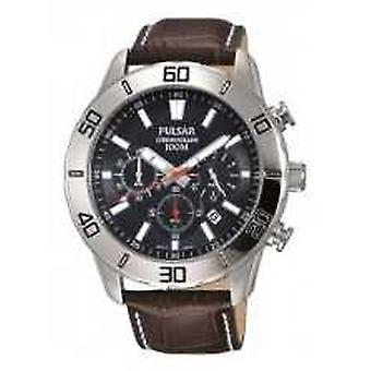 Pulsar Mens Chronograph Brown Leather Strap Black Dial PT3815X1 Watch