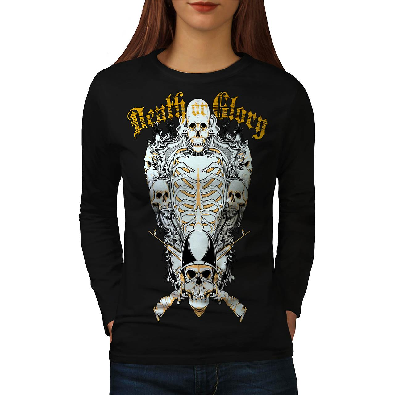 Death Glory Grave Gun Skull Army Women Black Long Sleeve T-shirt | Wellcoda