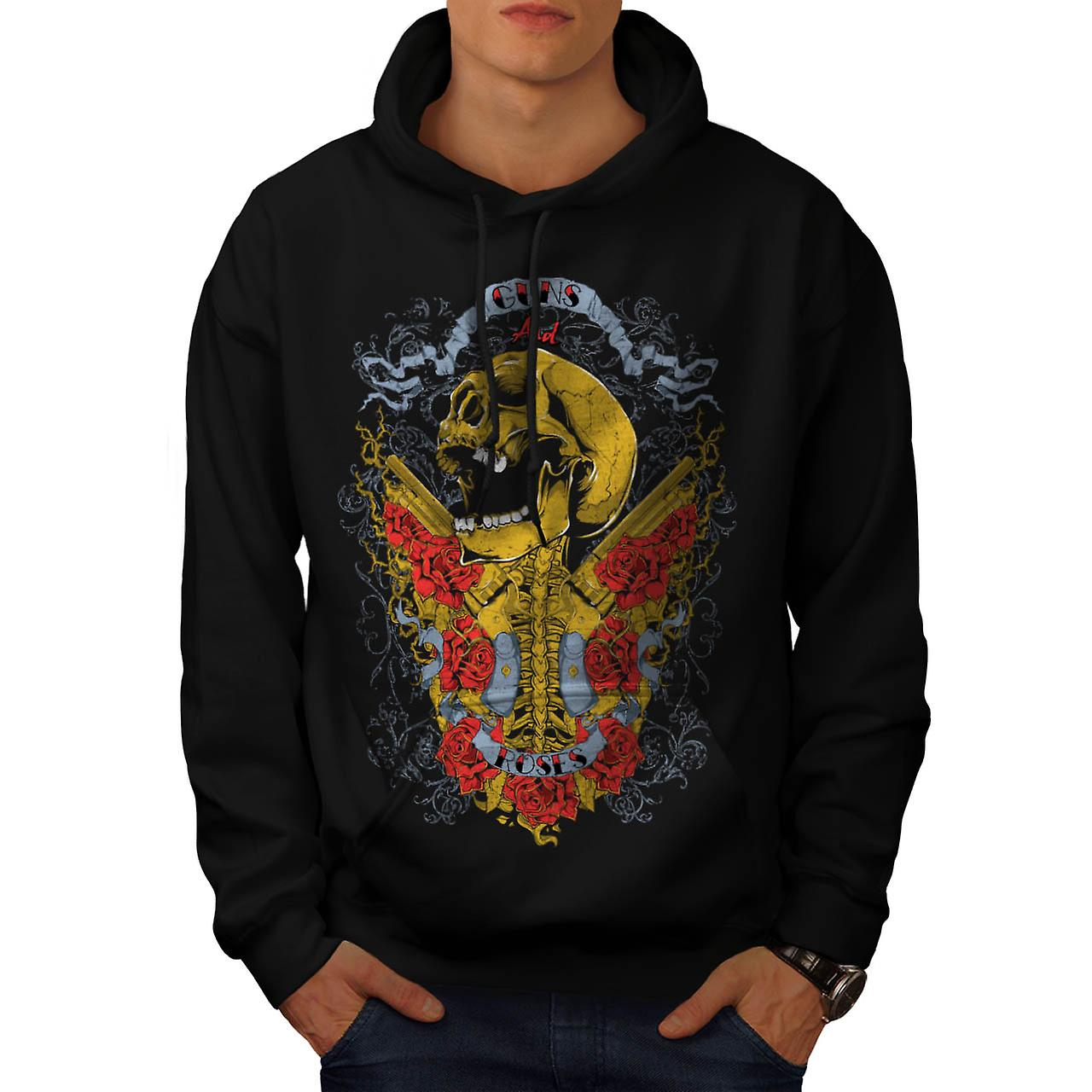 Guns And Roses Skull Men Black Hoodie | Wellcoda