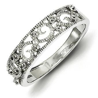 Sterling sølv Diamond Band Ring - ringstørrelse: 6-8