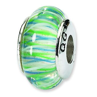 Ster. Silver Reflections Blue Yellow Murano Glass Bead Charm