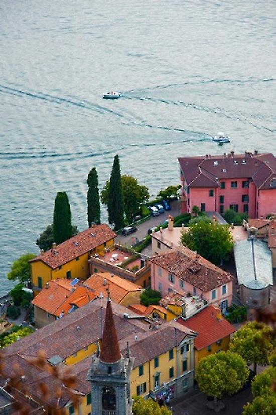 High angle view of buildings in a town at the lakeside Varenna Lake Como Lombardy  Poster Print by Panoramic Images (24 x 36)