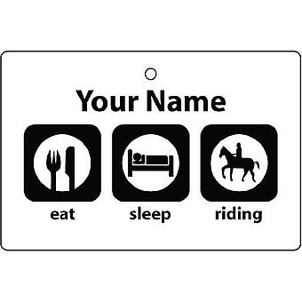 Personalised Eat Sleep Horse Riding Car Air Freshener