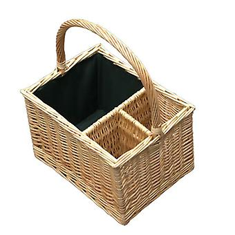 Oval Glass or Cutlery Drinks Basket 6 Partition