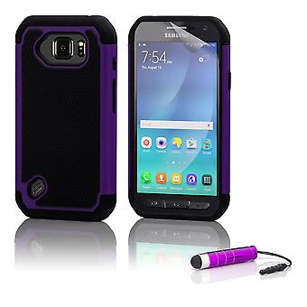 Shock proof case + stylus for Samsung Galaxy S6 Active (SM-G890) - Purple
