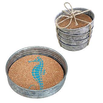Seahorse Vintage Look Mason Jar Lids Galvanized Metal Cork Coasters Set of 4