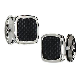 Mens Chisel Black Carbon Fiber Cuff Links in Stainless Steel