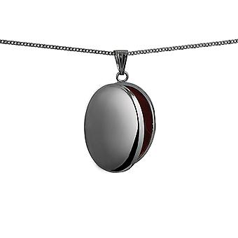 Silver 30x24mm plain oval Locket with a curb Chain 18 inches