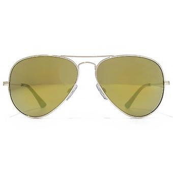 American Freshman Classic Metal Aviator Sunglasses In Light Gold