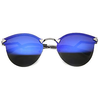 Futuristic Zigzag Temples Colored Mirror Lens Rimless Aviator Sunglasses 59mm