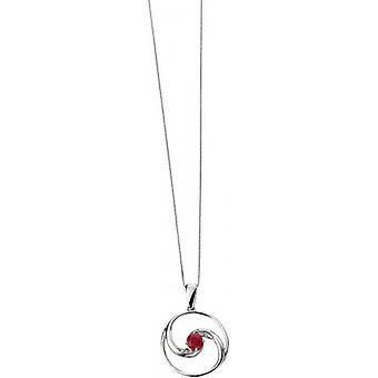 Elements Gold Skylight 9ct White Gold Ruby and Diamond Round Open Pendant - Red/White Gold