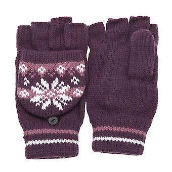 Ladies/Womens Patterned Capped Fingerless Winter Gloves