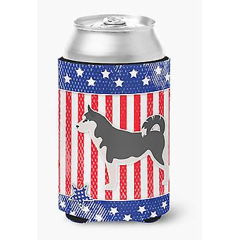 Carolines Treasures  BB3380CC USA Patriotic Siberian Husky Can or Bottle Hugger