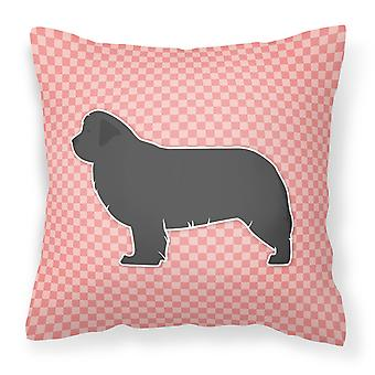 Newfoundland Checkerboard Pink Fabric Decorative Pillow