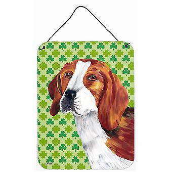 Impresiones de Beagle San Patricio día trébol retrato pared o puerta colgante