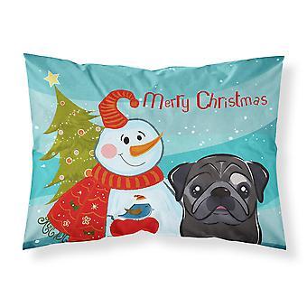 Snowman with Black Pug Fabric Standard Pillowcase
