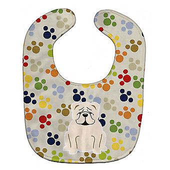 Carolines Treasures  BB5952BIB Pawprints English Bulldog White Baby Bib