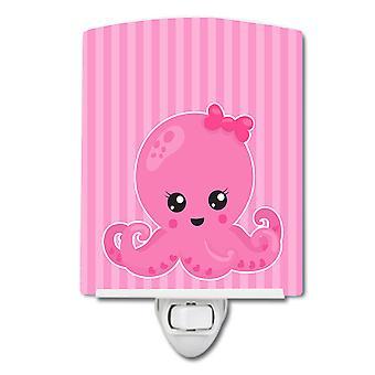 Carolines skatter BB8911CNL nautiske rosa blekksprut keramiske nattlys
