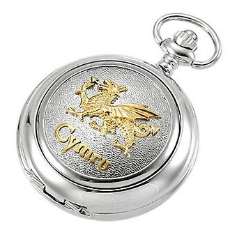 Woodford Welsh Dragon Skeleton Chain Pocket Watch - Silver/Gold