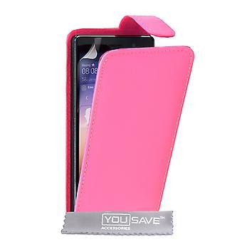 Huawei Ascend P7 läder-effekt Flip Case - Hot Pink