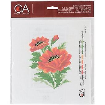 Collection D'Art Stamped Cross Stitch Kit 20X22cm-Poppies CDPA0636