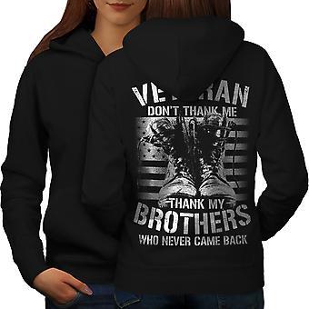Thank My Brothers Slogan Women BlackHoodie Back | Wellcoda