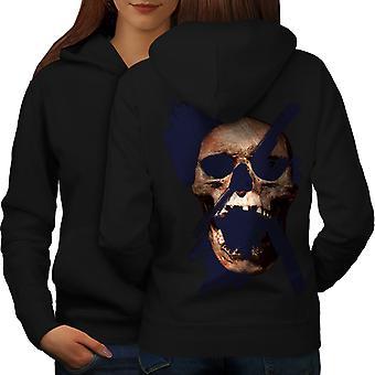 Metal Bad Guy Skull Women BlackHoodie Back | Wellcoda