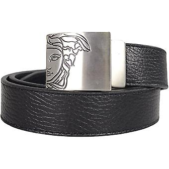 Versace V910196 Plain Black Silver Buckle Leather Belt