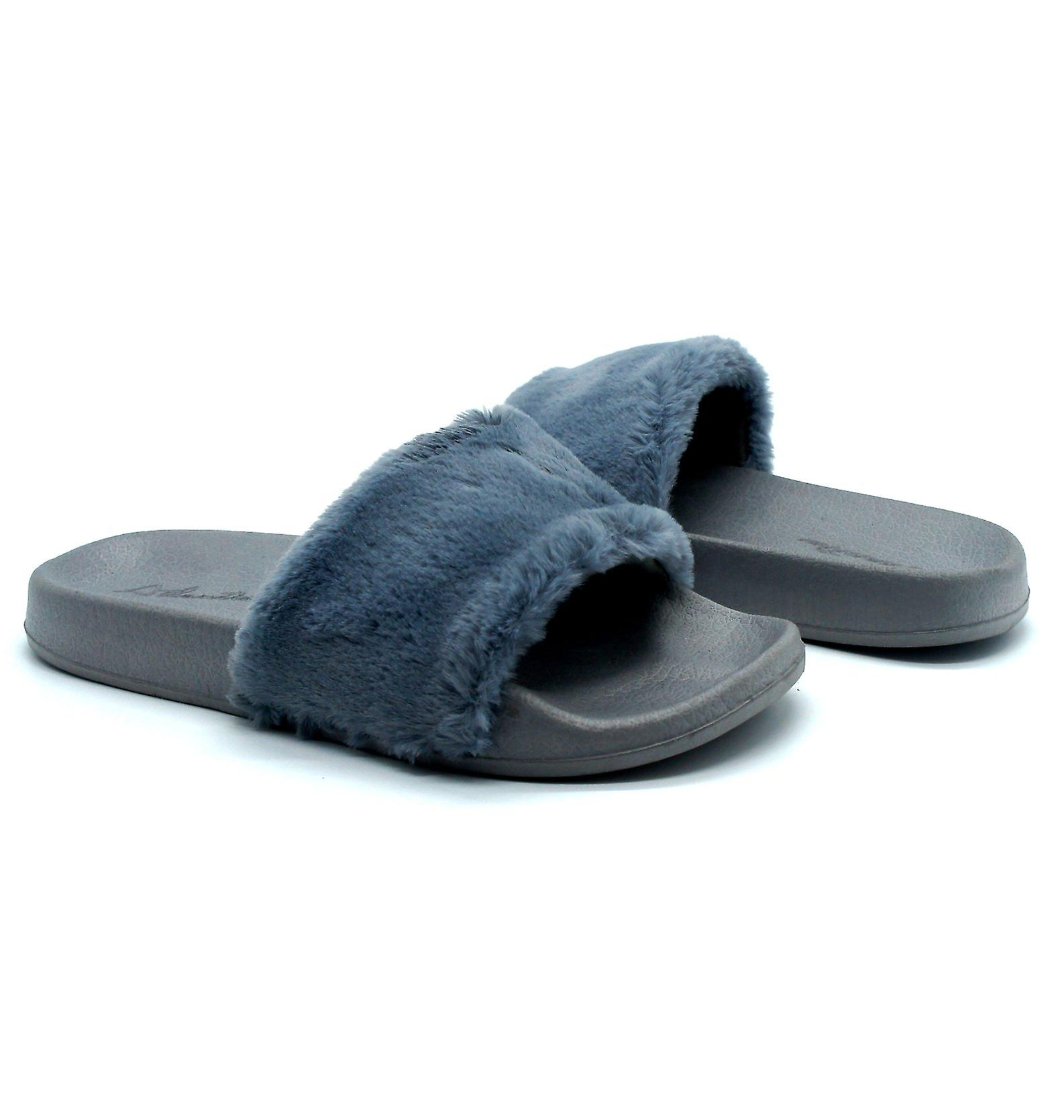 Atlantis Shoes Women Supportive Cushioned Comfortable Sandals Sliders Fluffy Grey